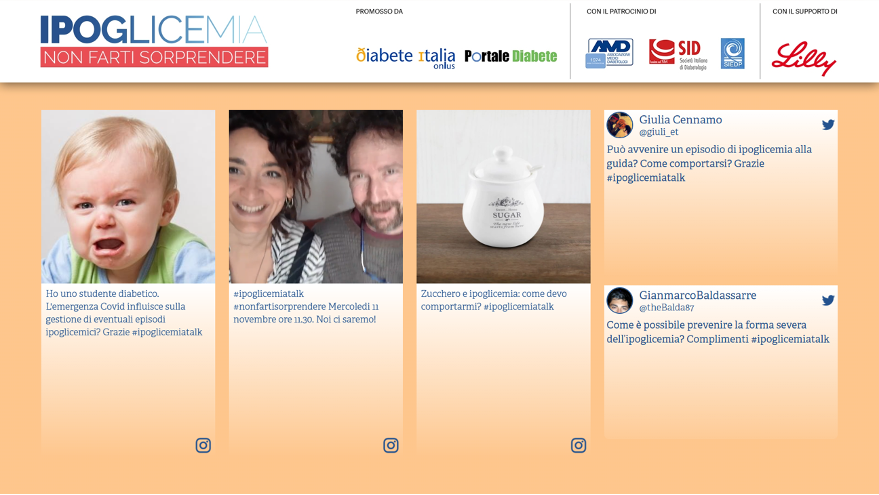 Social Wall della campagna #ipoglicemiatalk