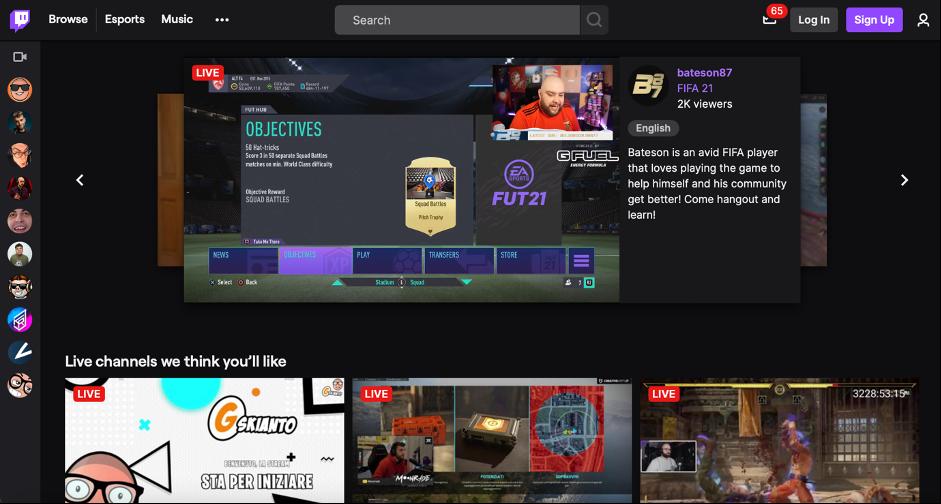 Guida all'utilizzo di Twitch: homepage