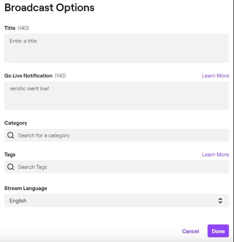 Guida all'utilizzo di Twitch: dettagli della live