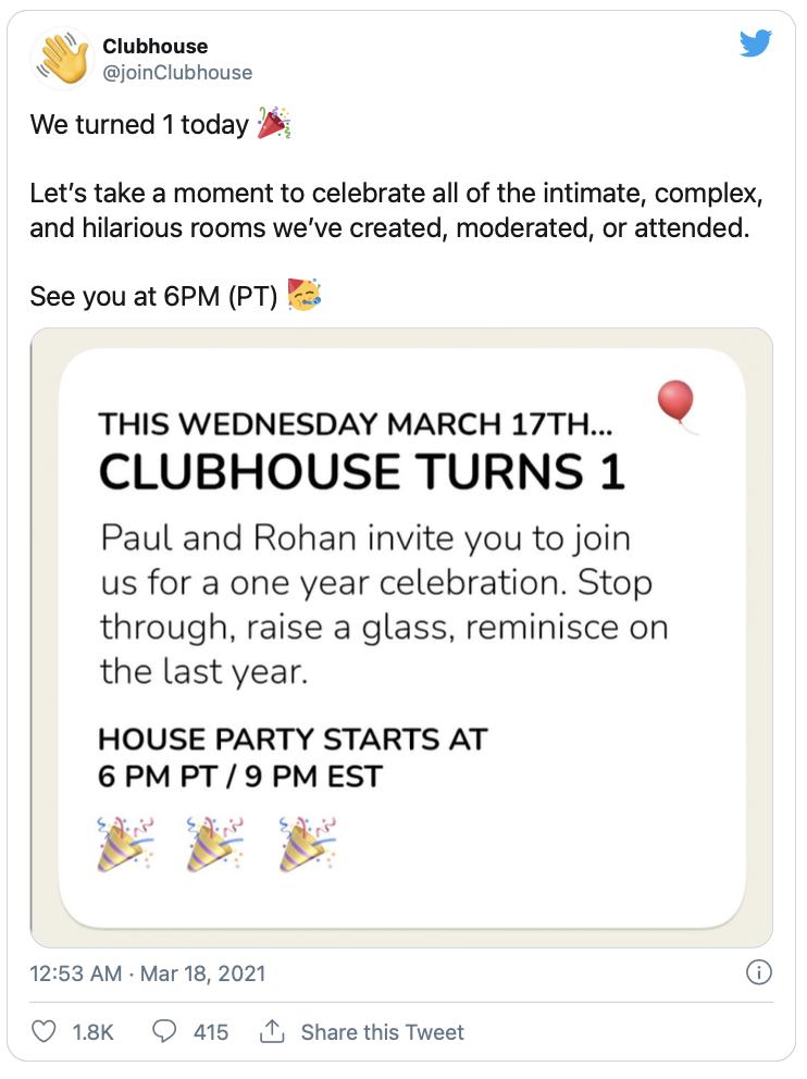 Un anno clubhouse