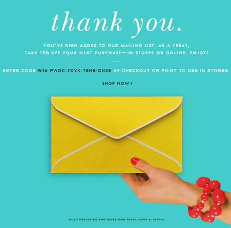thank you email post registrazione